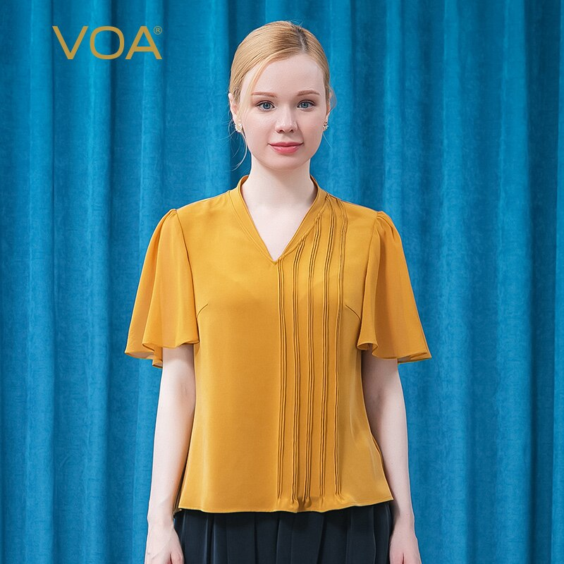 VOA Silk 30m/m Heavy V-neck Champagne Yellow Lotus Leaf Short Sleeve Asymmetric Design Fold Dovetail Straight T-shirt BE661