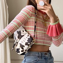 New 2021ins aww women's flared sleeve round neck Plaid slim fit short open navel T-shirt woman tshir