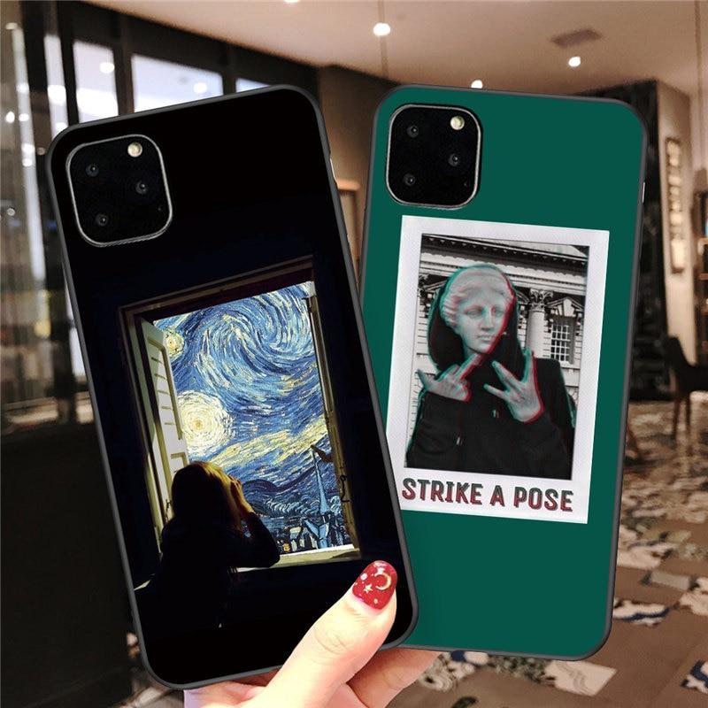 Funda de móvil divertida arte abstracto para iPhone 11 Pro X XR XS Max 7 8 6 6s Plus 5 5S SE 10 estatua de silicona funda trasera suave TPU