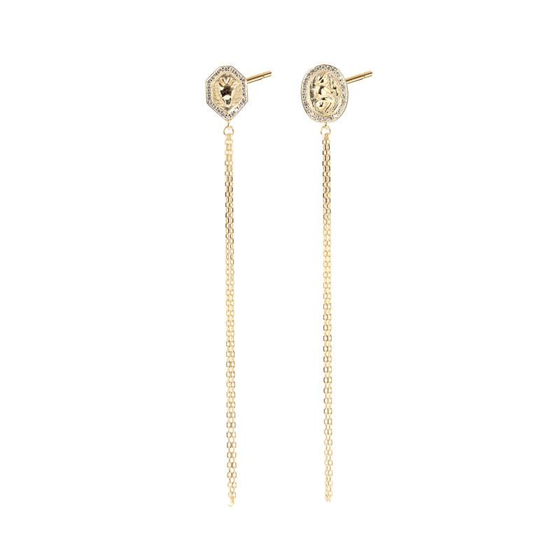 Luxury Stud Earrings Gift For Women Sterling Silver Earring Tassel Gold Long Earings Geometric Trendy Party Earing Fine Jewelry hot fashion brincos vintage long square crystal earring big geometric stud earrings for women classic gold color fine jewelry