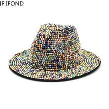 2022 NEW Hand Made Rhinestone Wool Felt Fedora Hat Unisex Church Jazz Stage Hat Party Club Men Hat