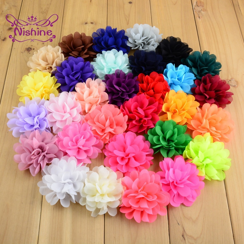 7pcs/lot 7 CM Solid Color Chiffon Flowers Hair Accessories Baby Girls Clothing Ornament Bridesmaids