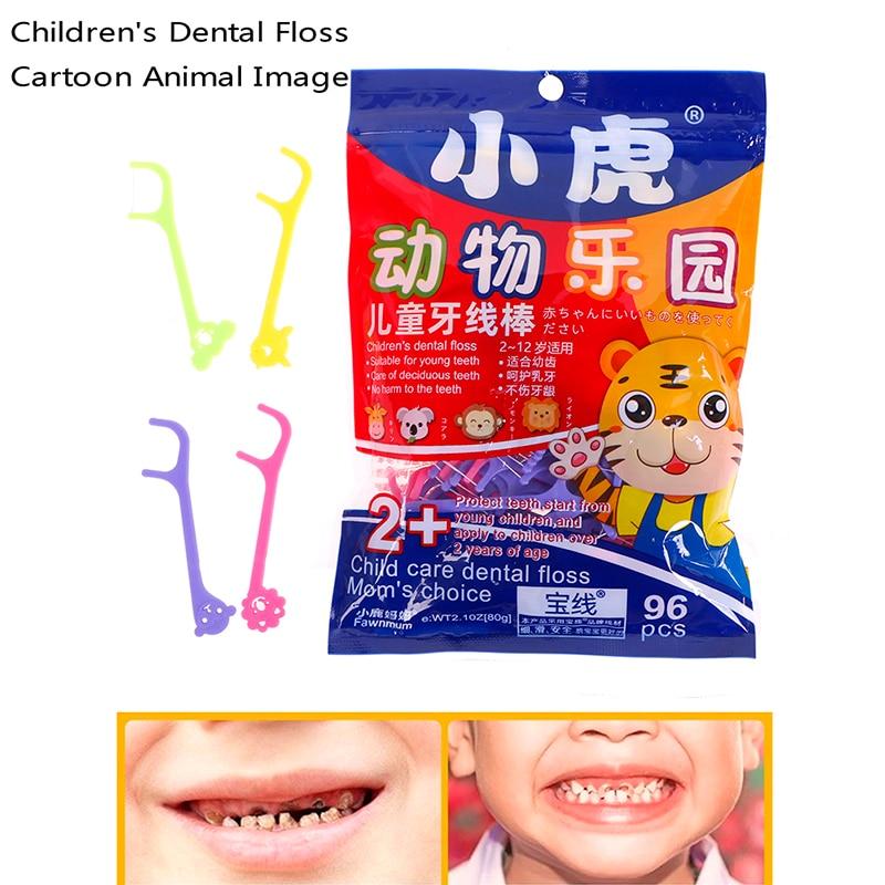 96PCS/Bag Kids cute Dental Floss Flosser , Children Cartoon Picks Teeth Toothpicks Stick Tooth Clean Oral Care