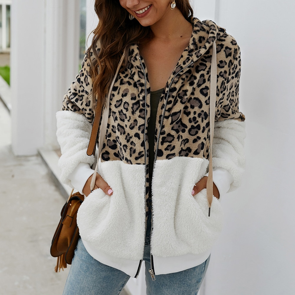 Marca de moda chaqueta de retazos mujeres abrigo de invierno de manga larga con capucha abrigo caliente prendas de vestir Casual leopardo capa superior de talla grande S-XL