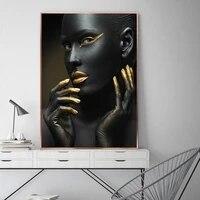Affiches et imprimes nordiques de femme africaine  modele noir et or  peintures sur toile dart mural  photos  decor de maison de salon