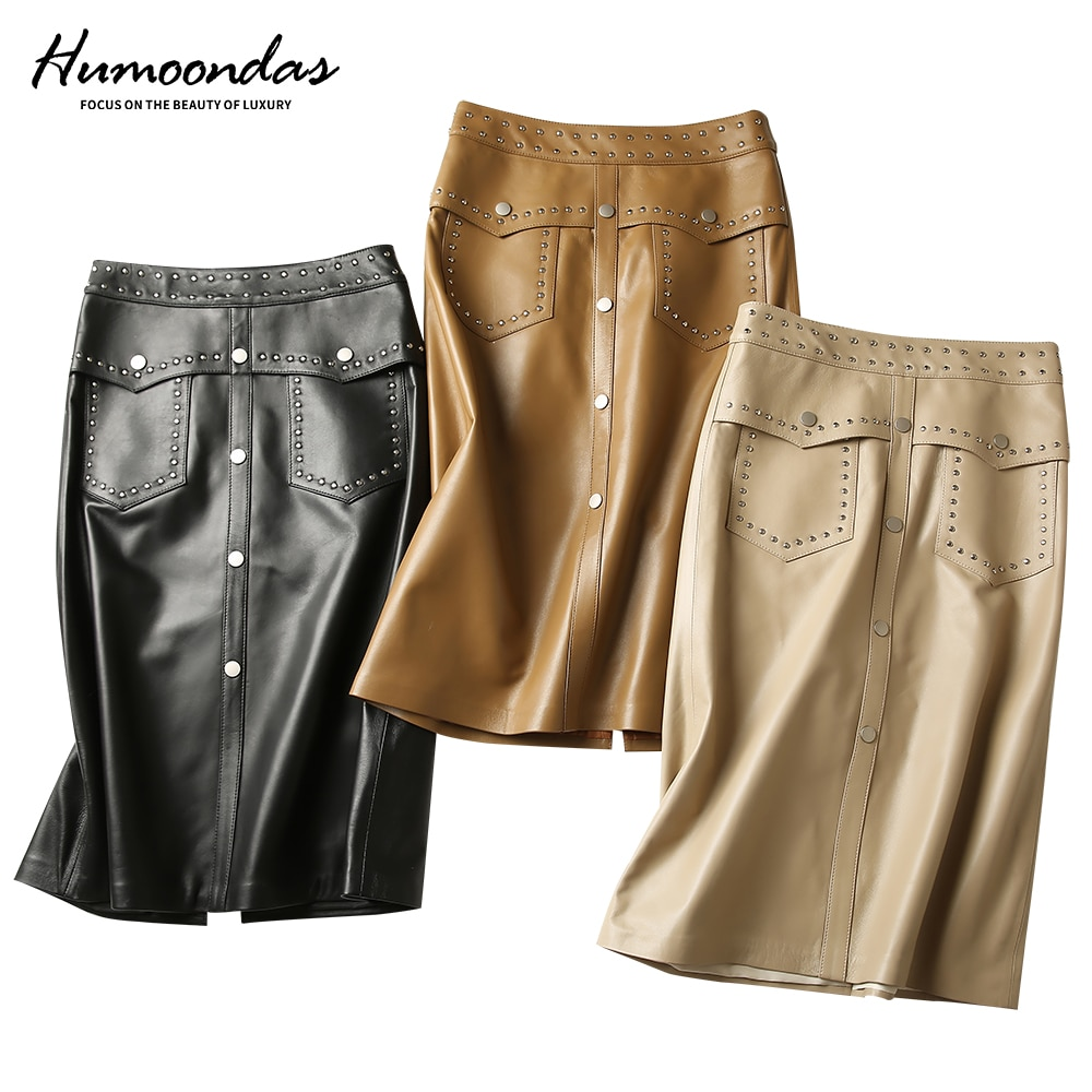 Europe American style woman summer spring leather skirts with metal rivets genuine sheepskin black female lady party skirt