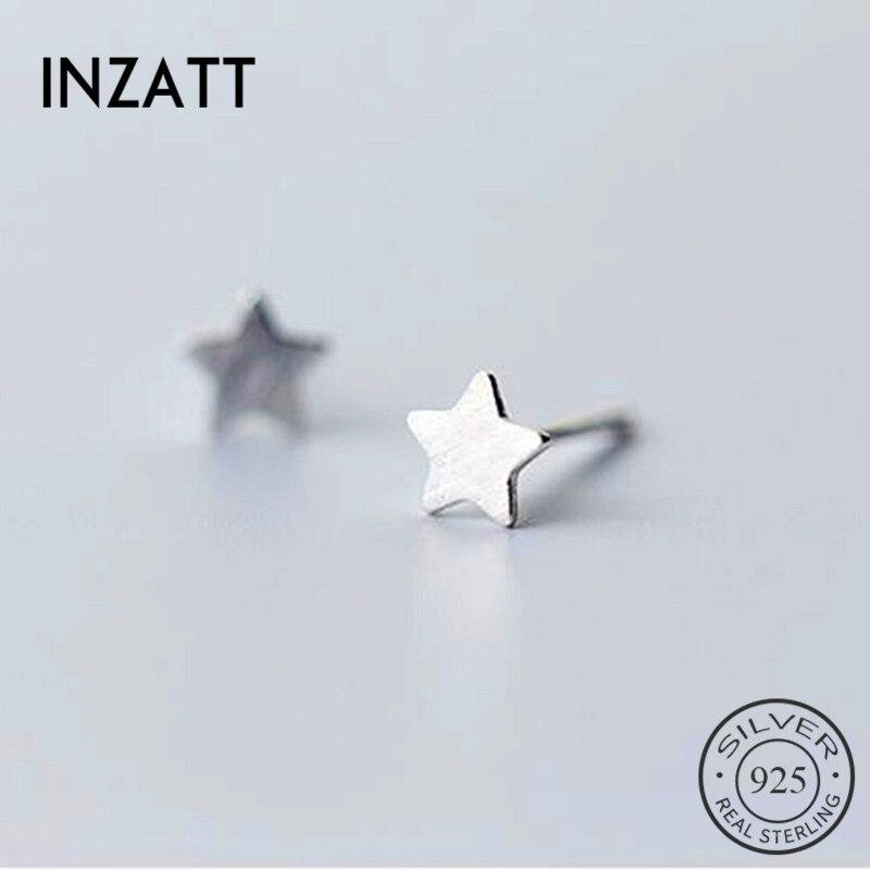 INZATT Real 925 Sterling Silver Minimalist Star Stud Earrings For Fashion Women Party Fine Jewelry Cute Accessories Gift