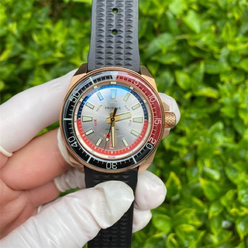 Relojes de buceador próxima AAA de bronce CuSn8, relojes mecánicos automáticos de cristal de zafiro de lujo para hombre, relojes de pulsera deportivos luminosos de 20Bar