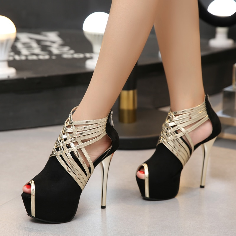 new women sandals sexy pvc transparent peep toe thin high heel 7 9cm shoes jelly ankle boots cross tied lace up pumps mujer gold New Sexy Peep Toe Thin Heels Sandals Women Pumps Cross Tied Platform Pumps Wedding Party Shoes Pumps For Women 1 Pair