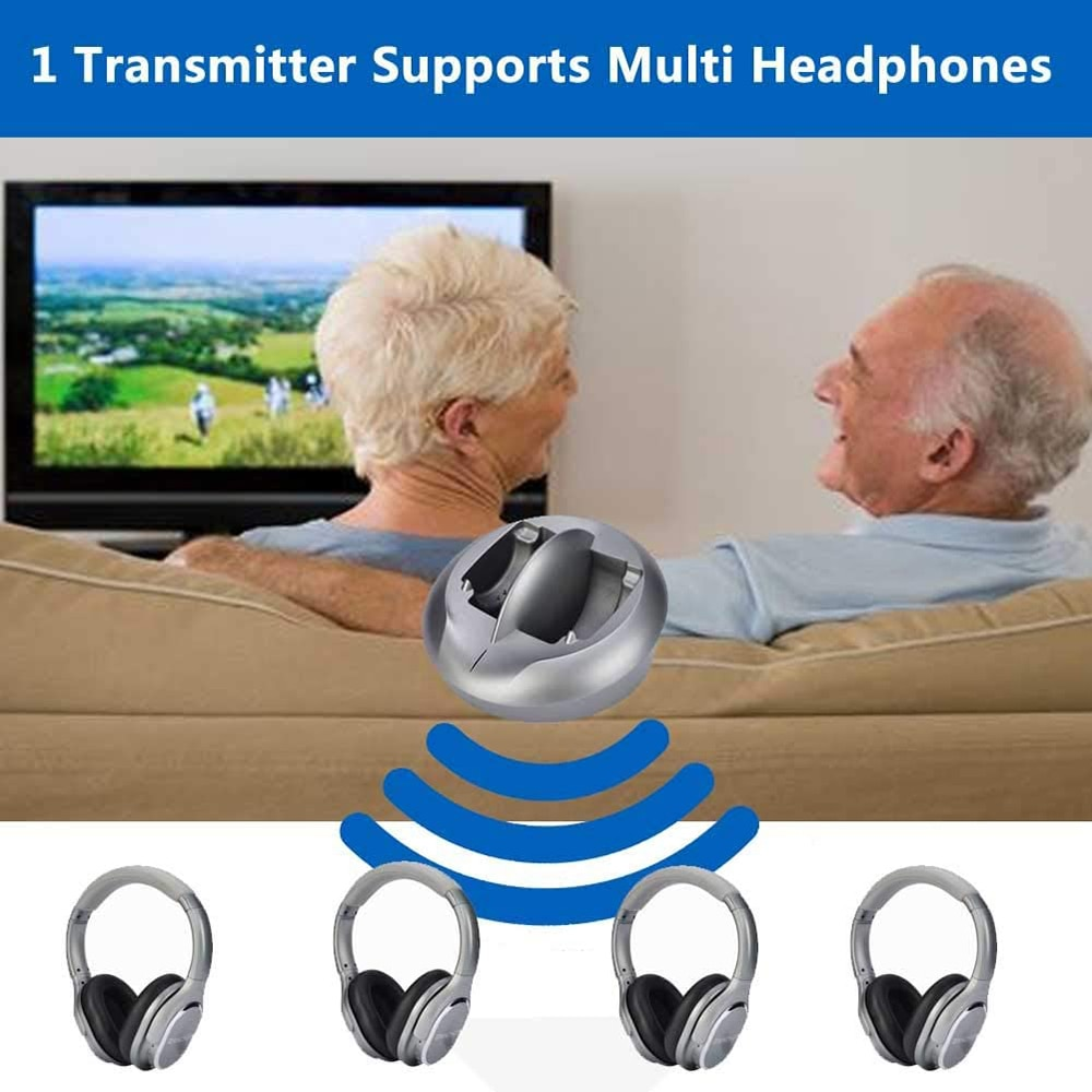 Zanchie Wireless Headphones for TV Watching with RF Transmitter 330ft Range-Digital OPTICAL RCA AUX,10Hrs Battery,No Audio Delay enlarge
