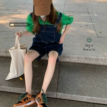 Hong Kong Style Jeans Wide Leg Shorts Backpack  Summer Green Shirt Small Fashion Two Piece Suit Wome