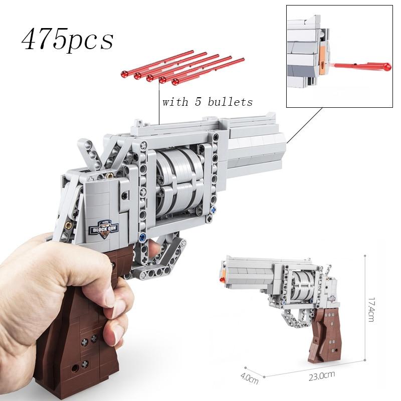 Fit Technic Series Gun Handgun Revolver Pistol Can Fire Bullets Set DIY Model Building Blocks Toys For Kids Boys Gift