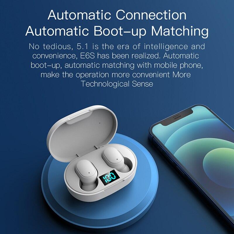 ROCKSTICK New E6s Smart Digital Display Bluetooth Headset Wireless Mini HIFI Headset Stereo in-Ear W