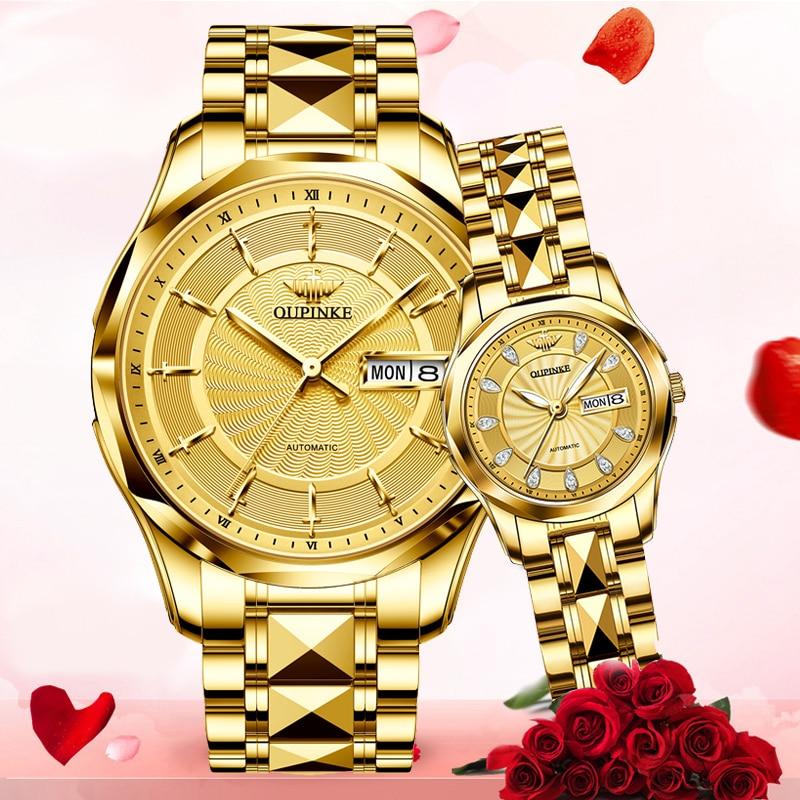 OUPINKE Watches For Couples Gold Watch Original Design Switzerland Luxury Brand Automatic Mechanical Watch Men Women Wristwatch