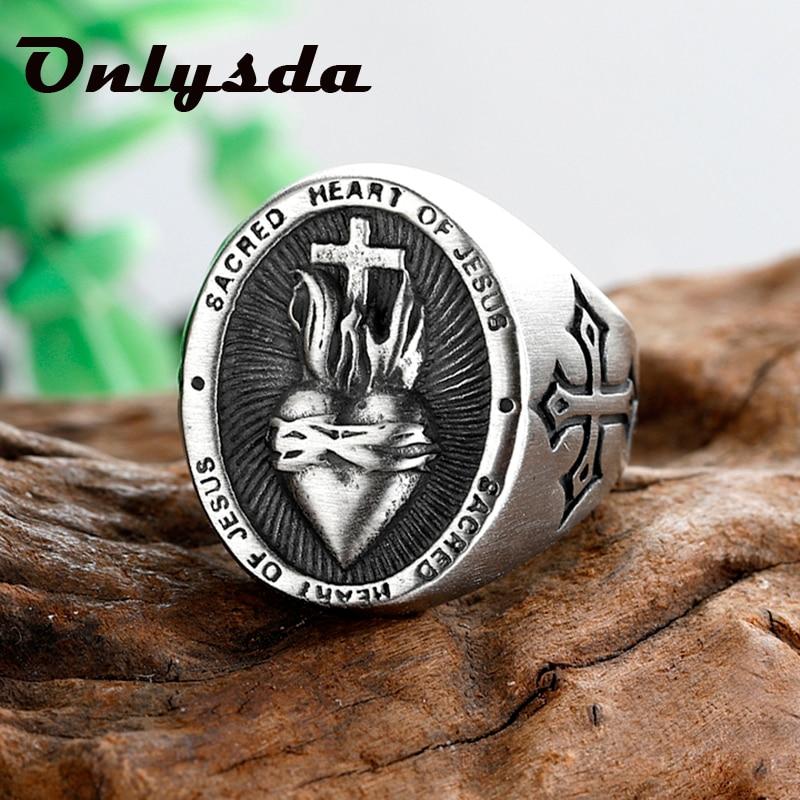 Onlysda FreeShipping Stainless Steel Ladies Mens Biker Punk Sacred Heart Of Jesus God Ring Cross Amu
