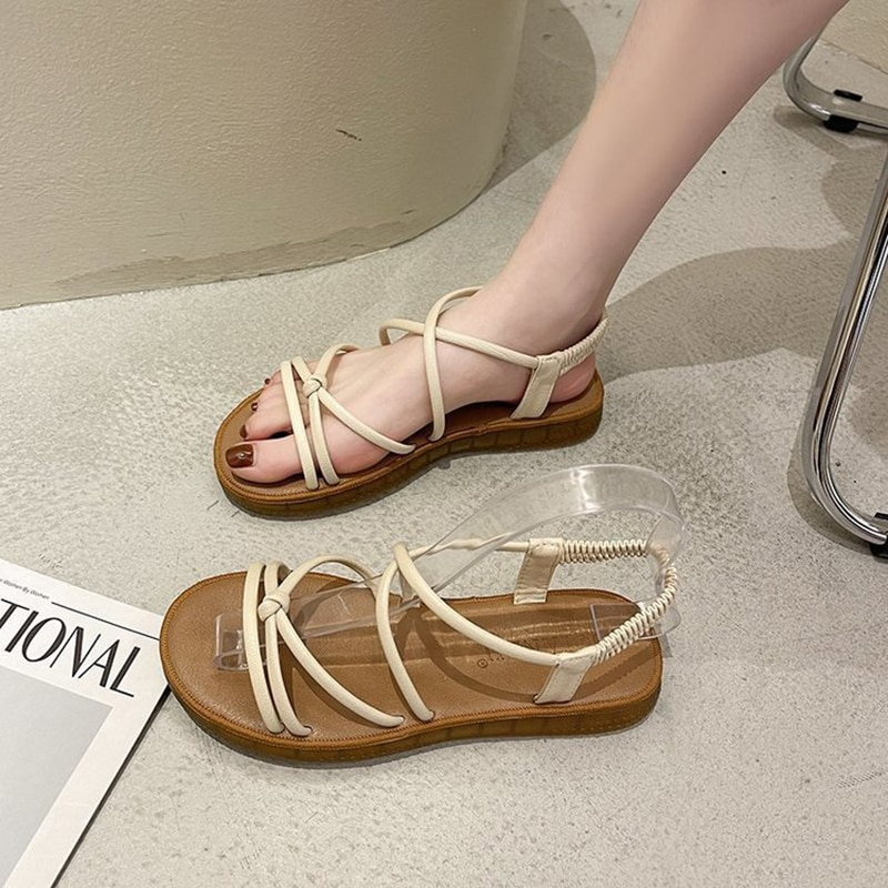 Casual Ladies Sandals Fashion Women Flat with In Wedges Korean Version Women Shoes Casual Anti-slip Breathable Open Toes Slides