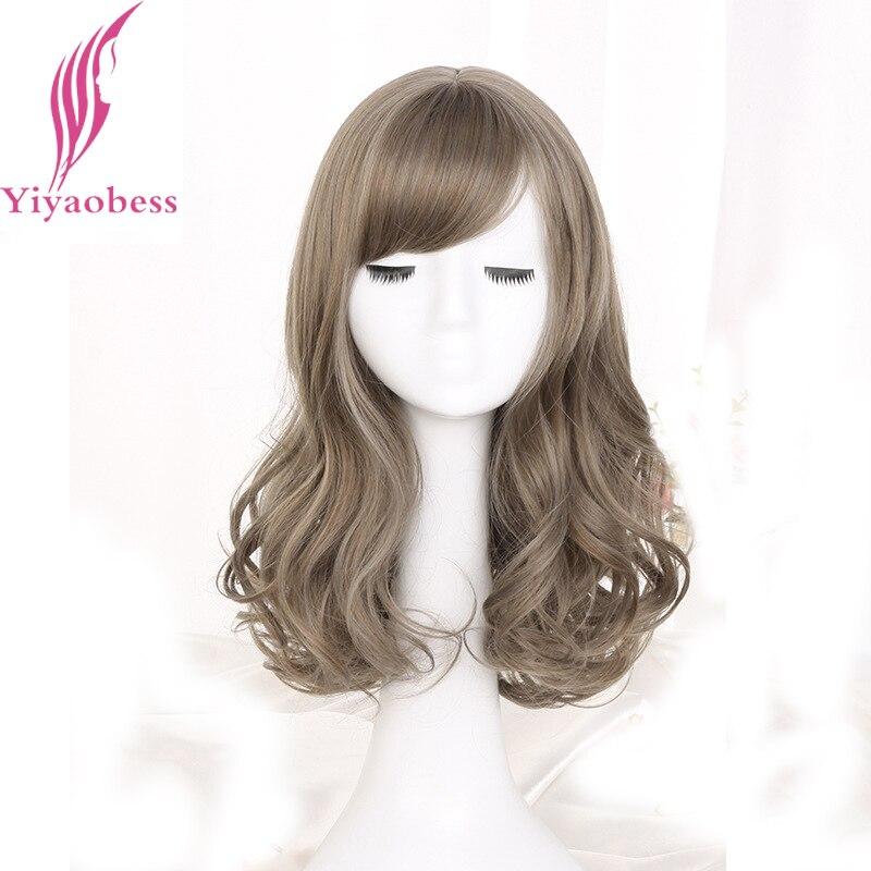 Peluca de pelo natural de lino sintético gris de largo medio Yiyaobess pelucas afro americanas para mujeres de fibra de alta temperatura