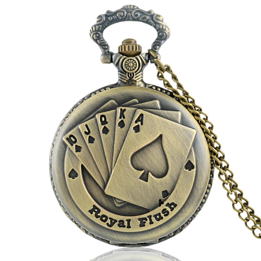 Retro bronce póker cuarzo reloj de bolsillo cadenas hombres antiguos mujeres collar reloj regalo reloj