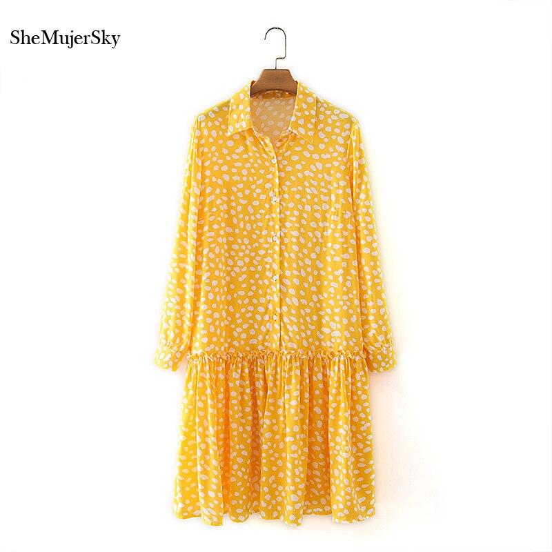 SheMujerSky-فستان نسائي أصفر بطبعة جلد الفهد ، قميص بأكمام طويلة ، 2021