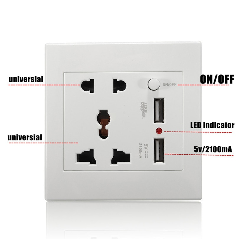 Wall Power Socket Universal 5 Hole  2 1A Dual USB Charger PortDC 5V 2100mA  LED Indicator  UK Standard USB Switched Outlet