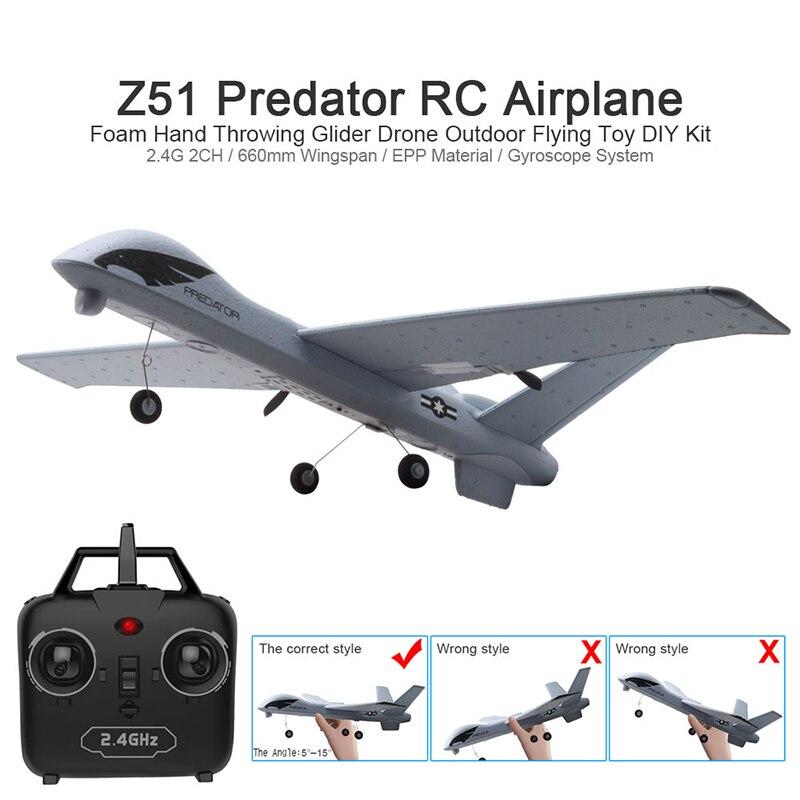 Z51 طائرة شراعية اليد رمي رغوة الطائرة بدون طيار RC نموذج طائرة ثابتة الجناح لعبة 20 دقيقة Fligt الوقت الجناح juguete لعب للبنين