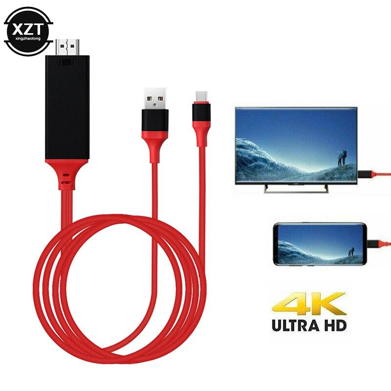 USB 3,1 tipo C a HDMI de 2m convertidor de adaptador de Cable Ultra HD 1080P HD 4k de carga de vídeo HDTV Cable para Samsung Galaxy S9/S8/nota 9
