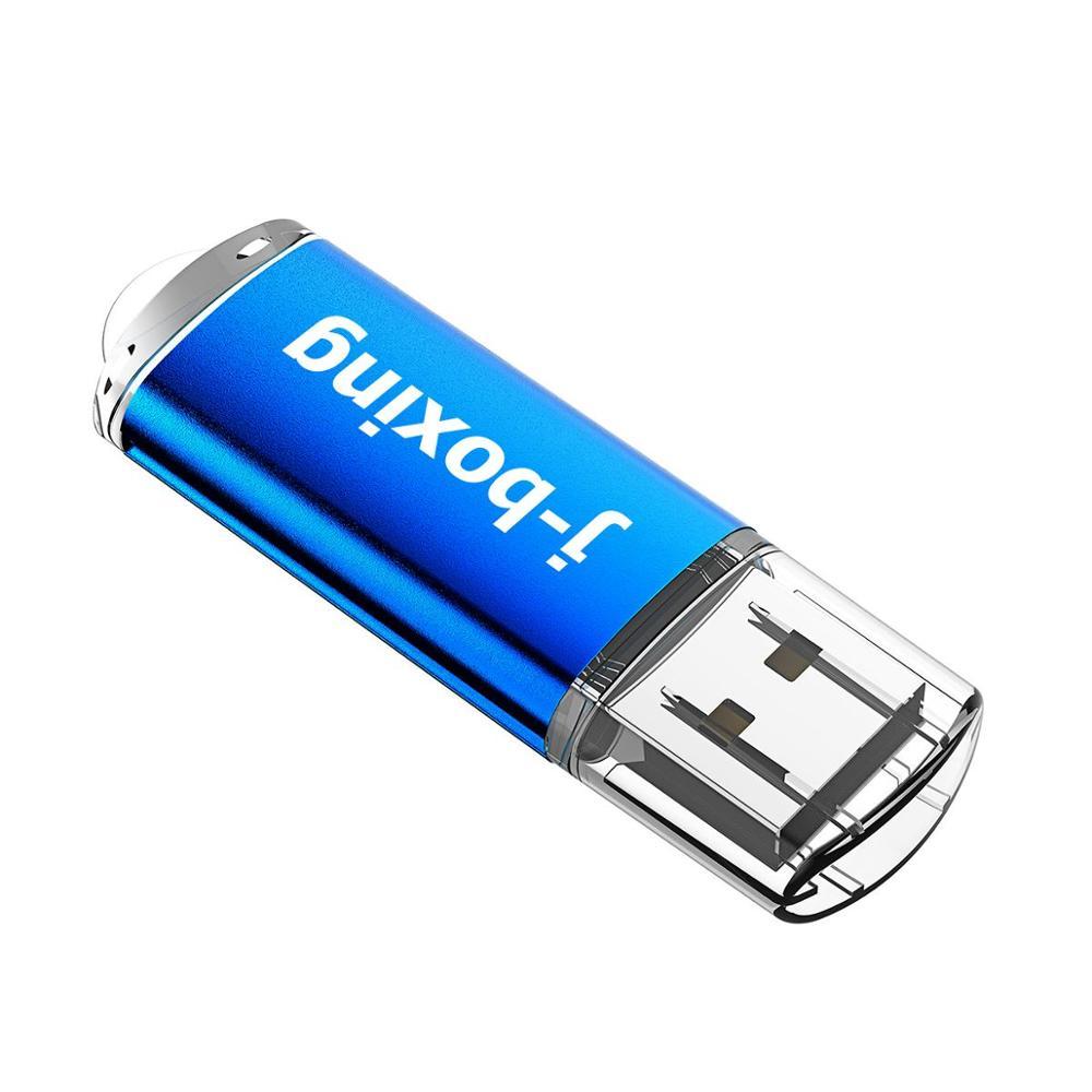 J-boxing Flash Memory Drive Rectangle 128GB Memory Flash Stick Large Capacity USB 2.0 Pen Drive for Desktop Macbook Tablet Blue
