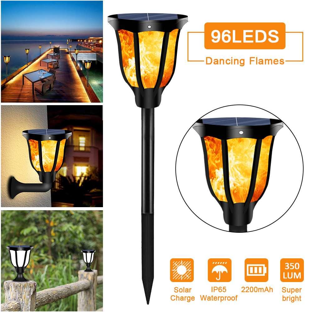 96 LED للماء الخفقان اللهب الشمسية الشعلة ضوء 1/2 قطعة في الهواء الطلق المشهد الديكور حديقة الحديقة مصباح لل فناء شرفة
