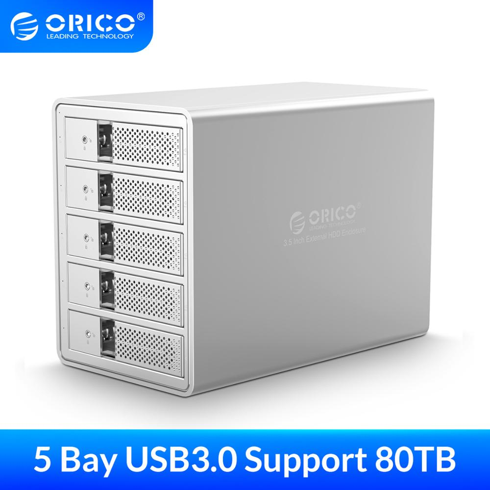 ORICO 3,5 pulgadas USB3.0 a SATA3.0 HDD recinto 5-bay 80TB HDD estación de acoplamiento con 150W adaptador de corriente para Laptop PC HDD box
