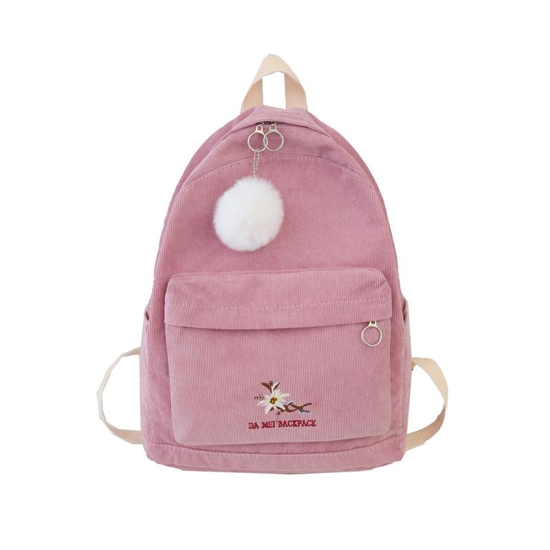 Solid Color Cute Stripe Corduroy Backpack Student School Bag Harajuku Female Shoulder Bags Teenage Girl Backpacks