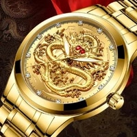 top brand luxury men quartz watch classic chinese style embossed golden dragon watch steel band business men watch dropshipping