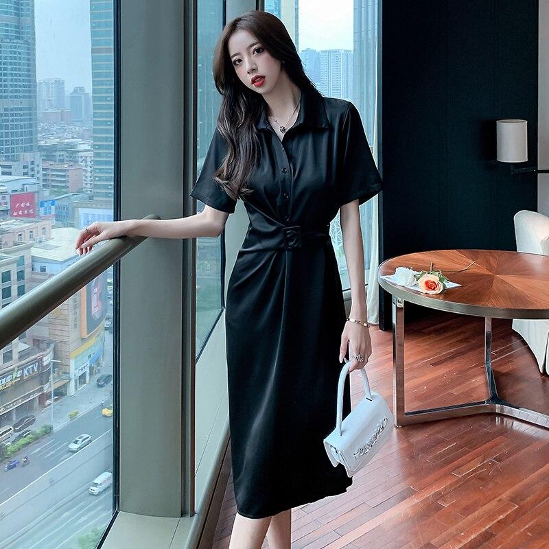 Satin Shirt Dress for Women 2021 Summer New Elegant Socialite French Slimming Women Hepburn Style Dress Black Dress