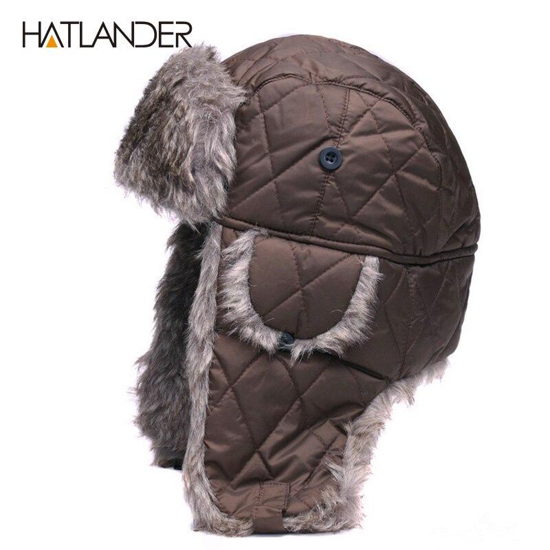 HATLANDER orejeras sombreros de invierno tapas de los hombres al aire libre de las mujeres al aire libre cálido gruesa chaqueta de la gorrita sombrero ruso Ushanka aviador de esquí de nieve cazador tapa