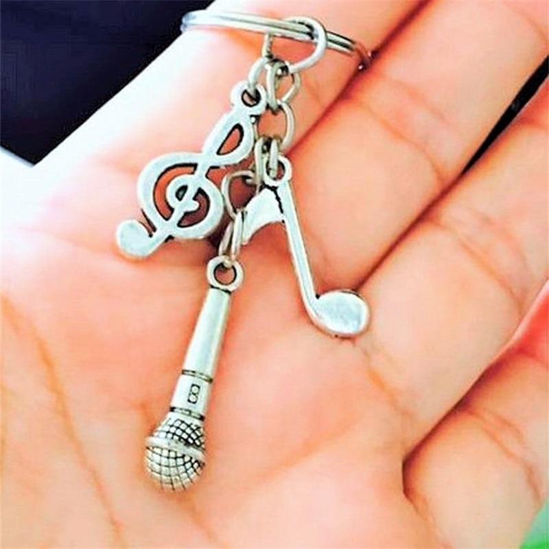 Música nota & microfone charme chaveiro, melhor amigos presente, música amante presente, música charme chaveiro