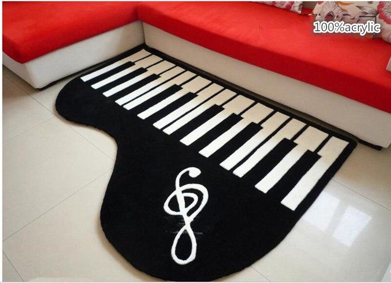 الاكريليك البيانو على شكل الإبداعية السجاد غرفة نوم سجادة غرفة معيشة الجدول سميكة الأسود و Tapete البساط البيانو الأبيض لعب الأطفال البساط
