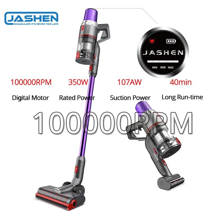 Reino unido estoque jashen v16 handheld aspirador de pó sem fio mão vara com led 350w forte potência sucção baixo ruído fixado na parede