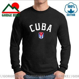 Vintage Tees Retro Men Cuba Flag Tee Shirt Streetwear Hipster Long Sleeve Printed Letter Fidel Castro Cuban Flag Fashion Clothes