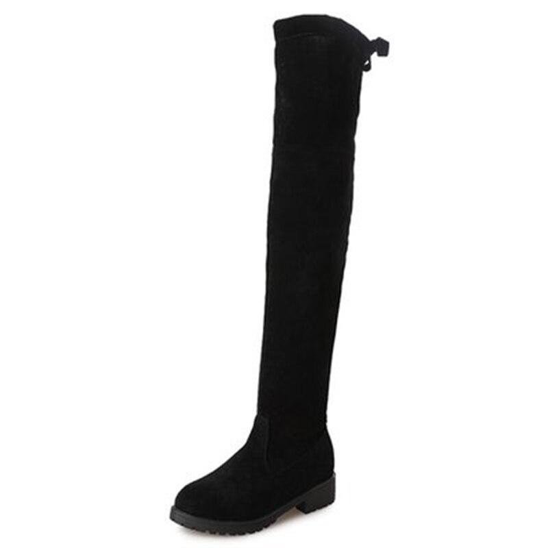 Tamaño 35-41 de invierno por encima de la rodilla botas de las mujeres Stretch tela de pierna alta y Sexy zapatos de mujer largo Bota femenina zapatos de mujer