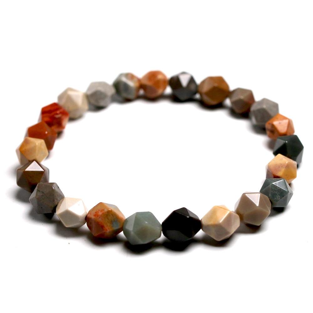 Mulher pulseiras owyhee imagem jasper corte superfície casal natural jasper pedra pulseira