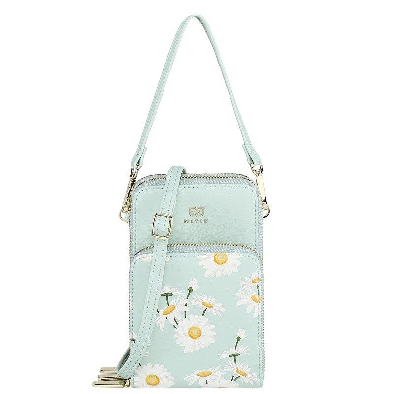متعددة الوظائف غطاء الهاتف المحمول حقيبة المحفظة المرأة حامل بطاقة سعة كبيرة صغيرة ديزي مطبوعة الأزهار محفظة الهاتف
