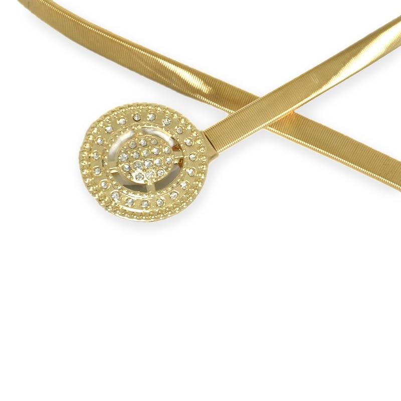 Elastic Stretch Ladies Waist Belts for Dresses Round Buckle Belt for Women Fashion Designer Female Rhinestone Belts gouden riem