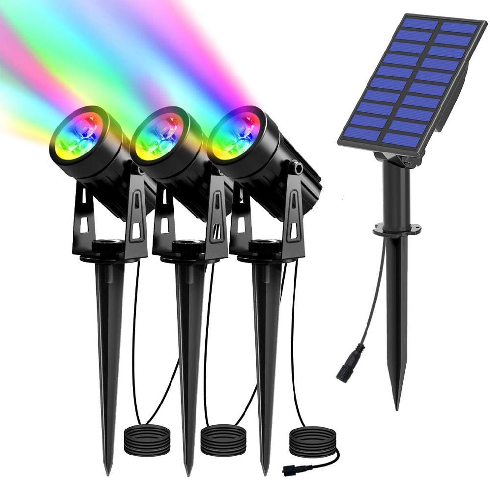 Foco Solar de T-SUN IP65, luz Solar RGB impermeable, luz de jardín, lámpara de energía Solar para decoración de paisaje y jardín
