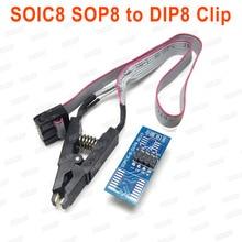 Para Clip 8 SOIC16 SOP8 Chip Flash IC Clip de prueba con SPI Cable programador BIOS para TL866ii Plus