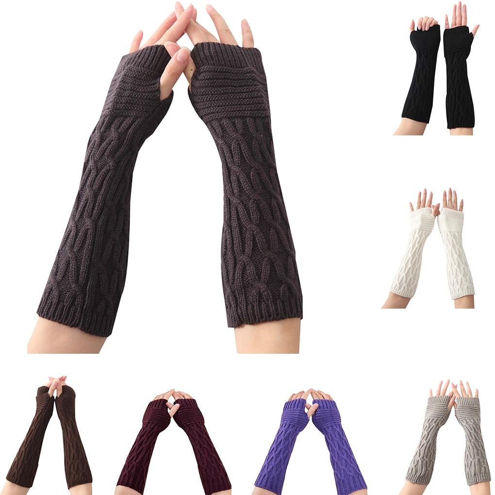 1 Pair Fold Pattern Women Girls Knit Arm Warmer Gloves Winter Autumn Stripe Arm Wrist Sleeve Mittens