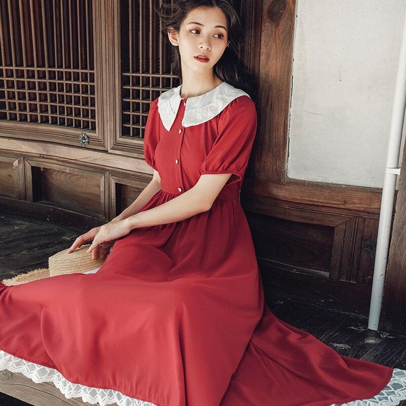 Vestido elegante de chifón con lazo para viaje con solapa Retro francés Color poema