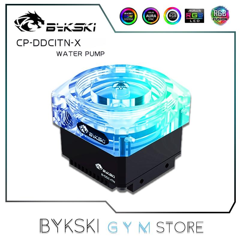 Bykski DDC مضخة تبريد المياه ، غطاء من الأكريليك + مبادل حراري من الألومنيوم ، هنغاريا Laing Head 4 متر ، Dlow 450L/H صامت ، CP-DDCITN-X