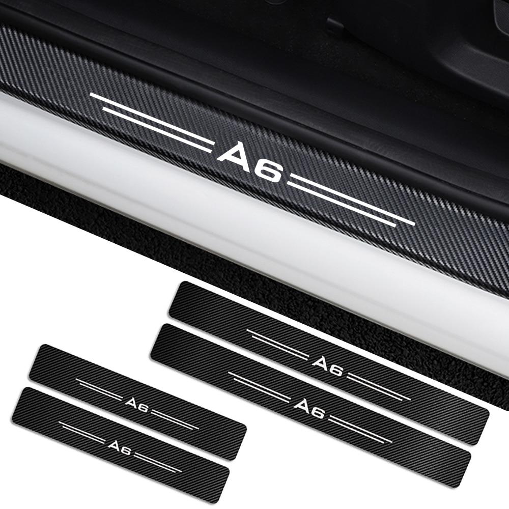 4pcs For Audi A4 B5 B6 B7 B8 B9 A3 8P 8V 8L A5 A6 C6 C5 C7 A4 A1 A7 A8 Q2 Q3 Q5 Q7 TT Accessories Car Door Sills Guards Stickers