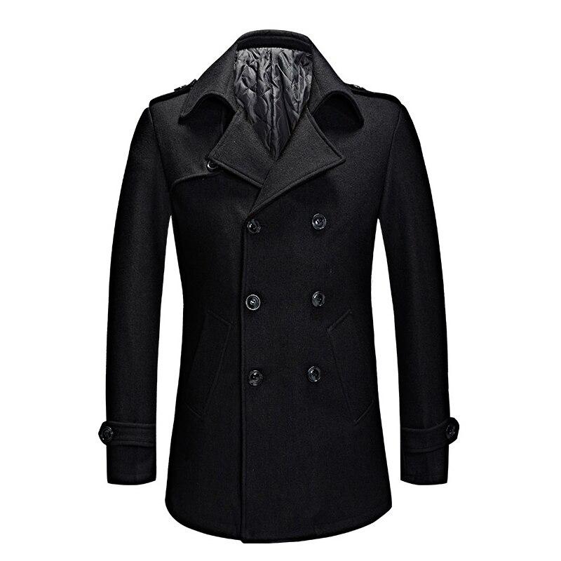 Moda ervilha casaco masculino 2020 primavera outono duplo breasted casual longo casacos de lã masculino peacoat