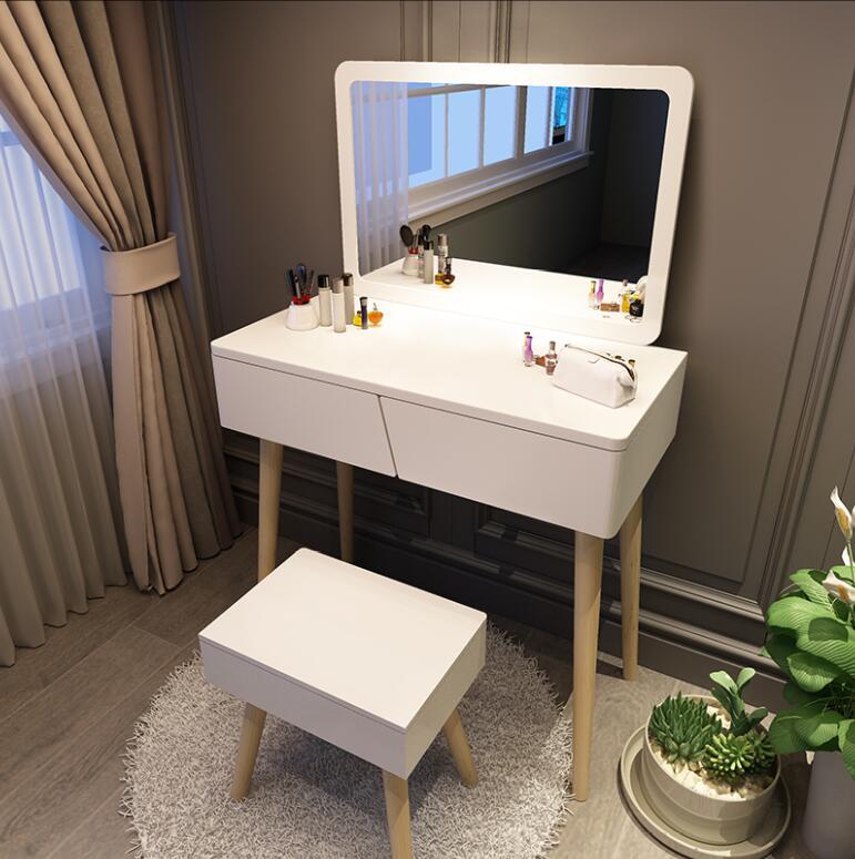 Туалетный столик в скандинавском стиле, современный минималистичный красный женский туалетный столик, квадратный зеркальный столик