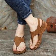 Femmes sandales 2020 chaussures à semelles compensées été femmes mode Clip orteil vague broderie sandales gladiateur décontracté plate-forme sandales